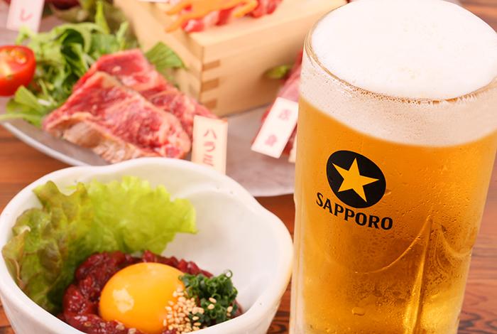 ビールと馬肉料理